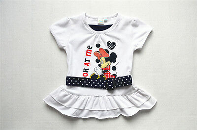 Disney Baby Girl Minnie Mouse Short Sleeve Fit & Flare Top Tee Size 6-24 months