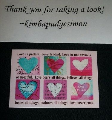 """Handcrafted Fridge Magnet religious/inspirational themed """"Love is patient..."""""""