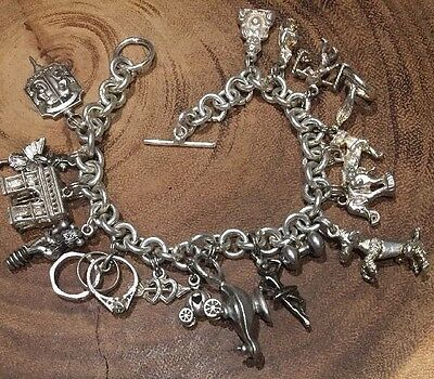 Vtg 16 Sterling Silver 925 Charms Bracelet Circus France Heart Asia Animals Mask