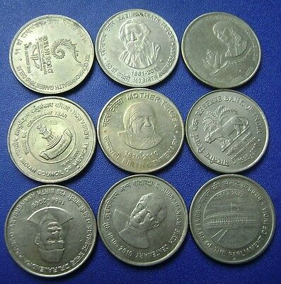 India - 5 Five Rupee - 9 Different Commemorative Coins Set - Rare
