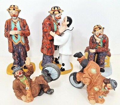 Emmett Kelly Clown Figurines Statue s Jr Eva Moore Lot of 5