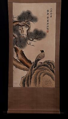 Wonderful Long Rare Old Chinese Scroll Hand Painting Birds PuZuo Marks PP919