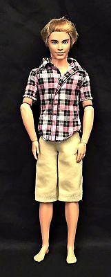 Barbie Fashionistas Ken Cutie Boy Articulated Jointed Blonde Doll Plaid Shirt