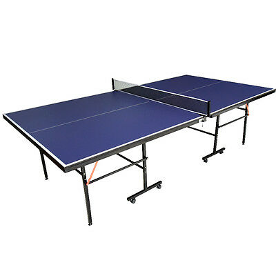 Folding Indoor Outdoor Table Tennis Ping Pong Table Blue Full Size Adjustable