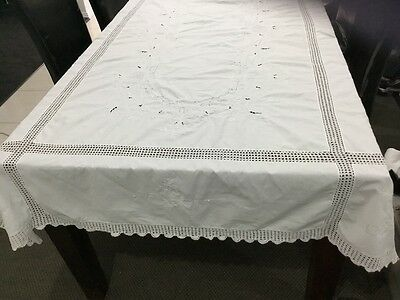 Vintage  rectangle white cotton tablecloth with white embroidery and cutwork.