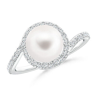 June birthstone Freshwater Cultured Pearl & Diamond Halo Ring 14K White Gold