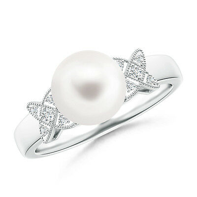 Solitaire FreshWater Cultured Pearl Diamond Vintage-Style Ring 14K White Gold