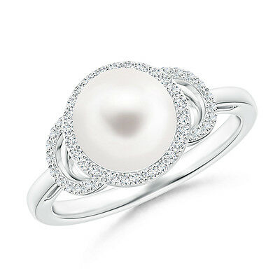 Round FreshWater Cultured Pearl With Diamond Halo Engagement Ring 14K White Gold