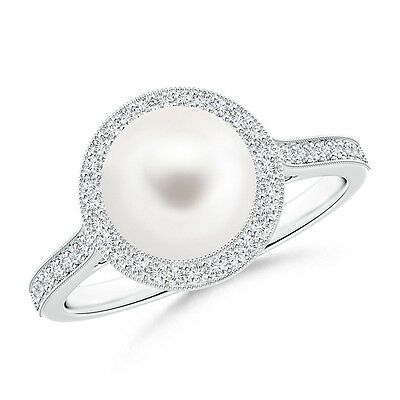 Round FreshWater Cultured Pearl and Diamond Halo Ring with 14K White Gold/Silver