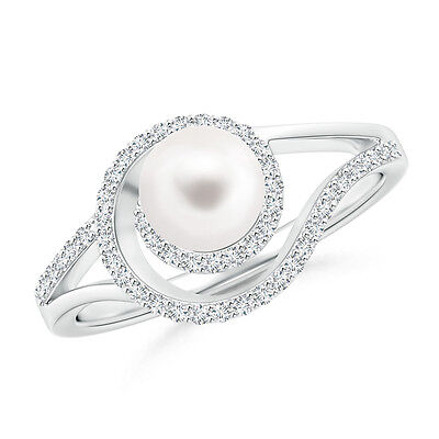 6 MM FreshWater Cultured Pearl Engagement Ring with Diamond Halo 14k White Gold