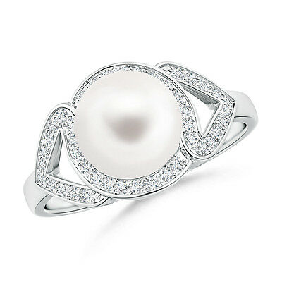 8 MM FreshWater Cultured Pearl Engagement Ring with Diamond Halo 14K Gold