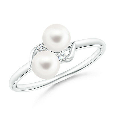 Two Stone FreshWater Cultured Pearl Bypass Ring with Diamond 14K White Gold