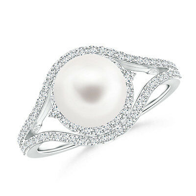 8 MM FreshWater Cultured Pearl Ring with Diamond Double Halo in 14K White Gold