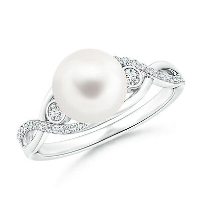 8 MM 14K White Gold FreshWater Cultured Pearl & Diamond Infinity Ring Size 3-13
