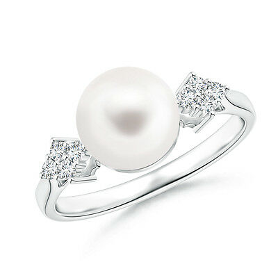 Solitaire FreshWater Cultured Pearl Ring with Cluster Diamond 14K White Gold