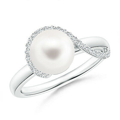 8 MM Solitaire FreshWater Cultured Pearl Ring with Diamond 14K White Gold