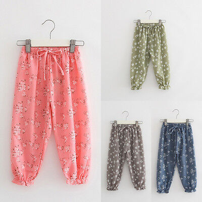 Kids Child Girls Cotton & Linen Harem Pants Trousers Flower Print Bloomers 3-9Y