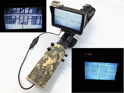Day Night Use Rifle Scope Add On DIY Night Vision Scope w/ LCD Monitor IR Torch