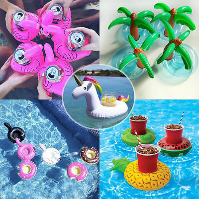 UK 8 X Swimming Inflatable Unicorn Floating Pool Bath Beach Drink Can Cup Holder