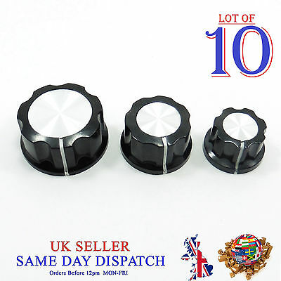 10x Push on Knob for Potentiometer Plastic Cap Different Size