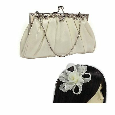 Ivory Satin Clutch Bag & Fascinator Set Wedding Prom Party Ladies Day Races New