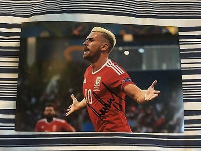 Aaron Ramsey Signed Wales Euro / Arsenal Picture. With COA. 12x8