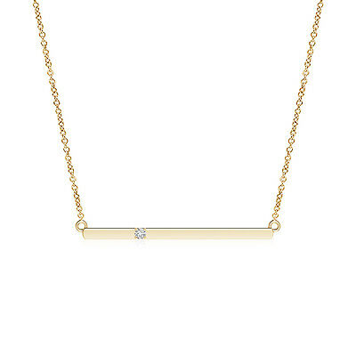 "Solitaire Diamond Bar Pendant Necklace in 14K Yellow Gold/Platinum 18"" Chain"