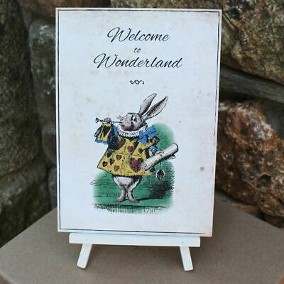 Alice in Wonderland Distressed Welcome to Wonderland Card Easel Wedding Party