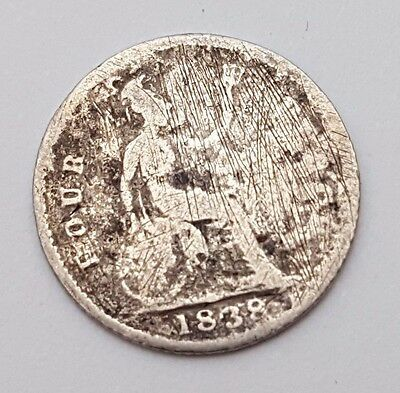 Dated : 1838 - Silver - Four Pence / 4d - Coin - Queen Victoria - Great Britain