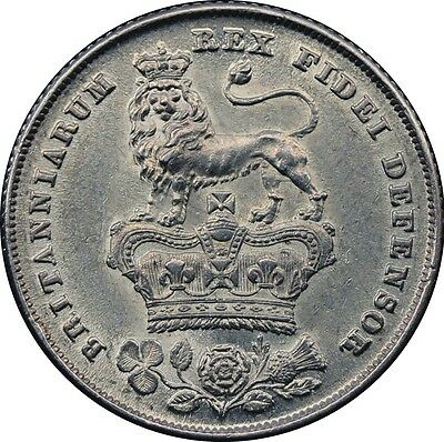 1826 BARE HEAD SHILLING SILVER COIN FROM GEORGE IV Milled (1816-1837)