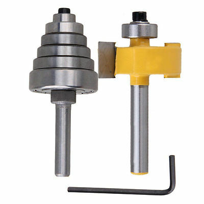 "2Pc Cemented Carbide Rabbet Router Bits 1/4"" Shank with 6 Adjustable Bearing"