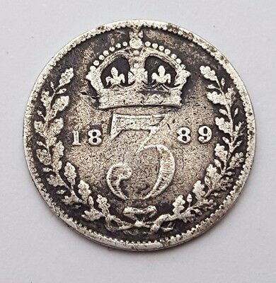 Dated : 1889 - Silver Coin - Threepence / 3d - Queen Victoria - Great Britain