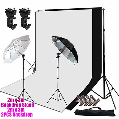 Photo Studio Flash Lighting Mpunt B Kit Soft Umbrella Backdrops Background Stand