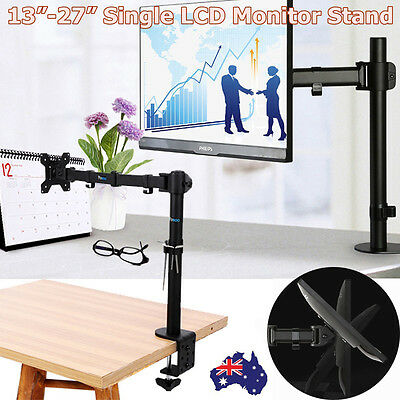 Black Single Monitor Stand Desk Mount 38cm Arm 13-27' Tilt Swivel Rotate VESA