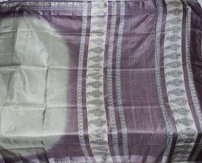 Free Shipping Vintage 100% Pure Real Silk Fabric Material Sari Saree #08808