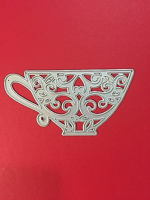 NEW• LACEY TEA CUP Coffee DIE For Cuttlebug Or Sizzix