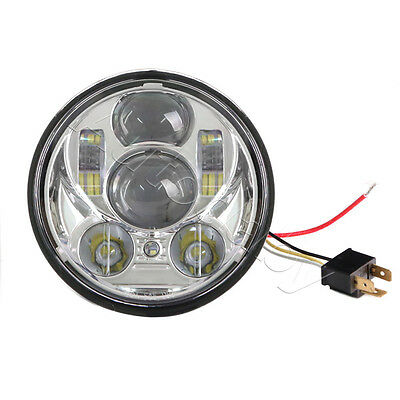 """5.75"""" 45W LED Motorcycle Headlight Daymaker Projector DRL For Harley:Silver"""