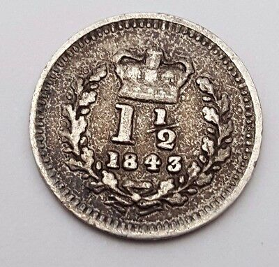Dated : 1843 - Silver Coin - Three Halfpence - Queen Victoria - Great Britain
