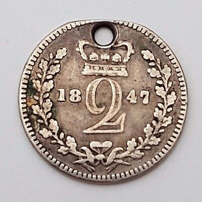 Dated : 1847 - Silver Coin - Twopence - Queen Victoria - Great Britain