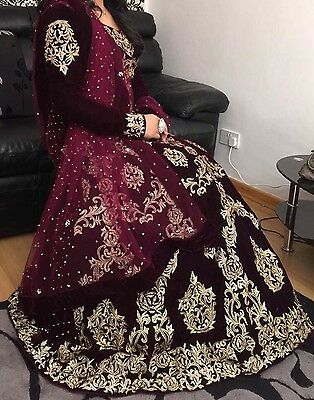 Indian Designer Luxury Velvet Bridal Gown Dress,Prom Party,Anarkali,Lengha.