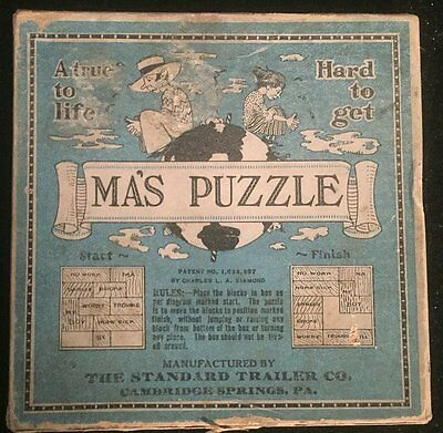 Vintage MA'S PUZZLE WOODEN BLOCK GAME BY CHARLES L.A.DIAMOND ORIGINAL BOX