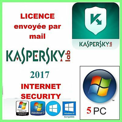 KASPERSKY INTERNET SECURITY 2017 - 1AN 5PC en Français Licence envoyée par mail