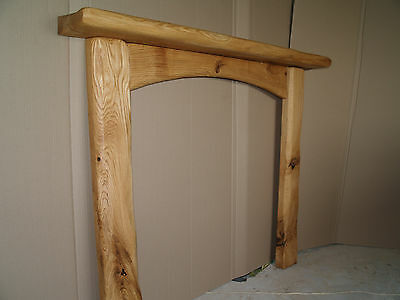 "Rustic Oak Fireplace Surround with Arched Cross Board - 36""/36"" internal opening"