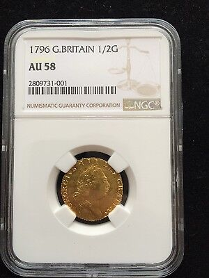 1796 george iii half guinea graded AU-58 by NGC also a double die