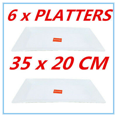 6 PK GLOSSY WHITE MELAMINE SERVING TRAY RECTANGLE PLATTER PARTY EVENT 35x20cm FD