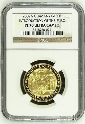 Deutschland 2002 A Gold 100 Euro NGC PF-70 Introduction of the Euro / Einführung