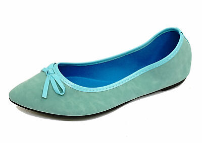 Ladies Flat Blue Slip-On Shoes Dolly Comfy Ballet Ballerina Casual Pumps Uk 3-8