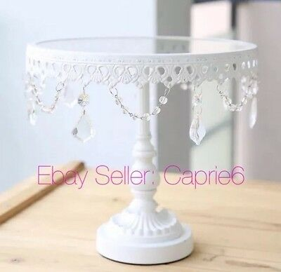 9 Inch 23 Cm White Iron Glass & Crystal Cupcake Cake Stand Wedding Party