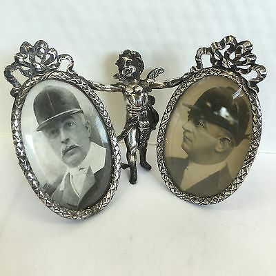 Antique Solid Silver Cherub Double Photo Frame Imported By B Muller Novelty