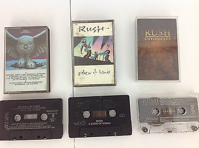 RUSH Cassette Tape Lot: Show of Hands, Fly by Night & Chronicles Vol. 1